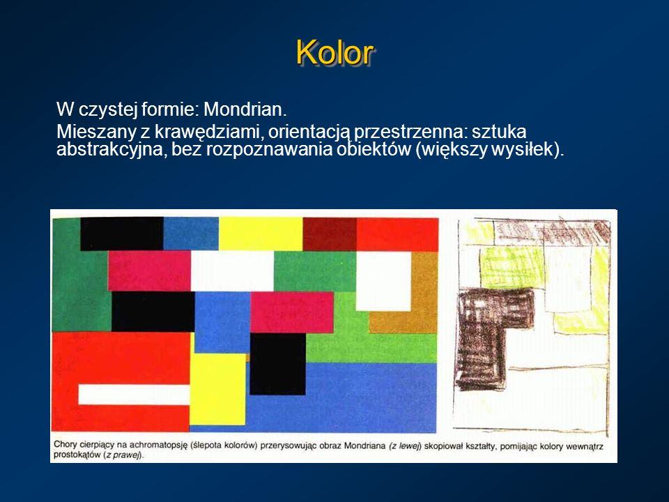 KolorKolor W czystej formie: Mondrian. Mieszany z krawędziami, orientacją przestrzenna: sztuka abstrakcyjna, bez rozpoznawania obiektów (większy wysił