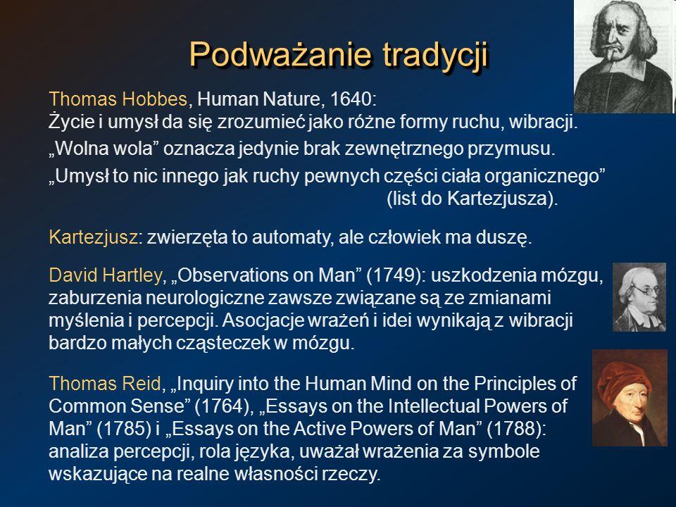Podważanie tradycji Thomas Hobbes, Human Nature, 1640: Życie i umysł da się zrozumieć jako różne formy ruchu, wibracji. Wolna wola oznacza jedynie bra