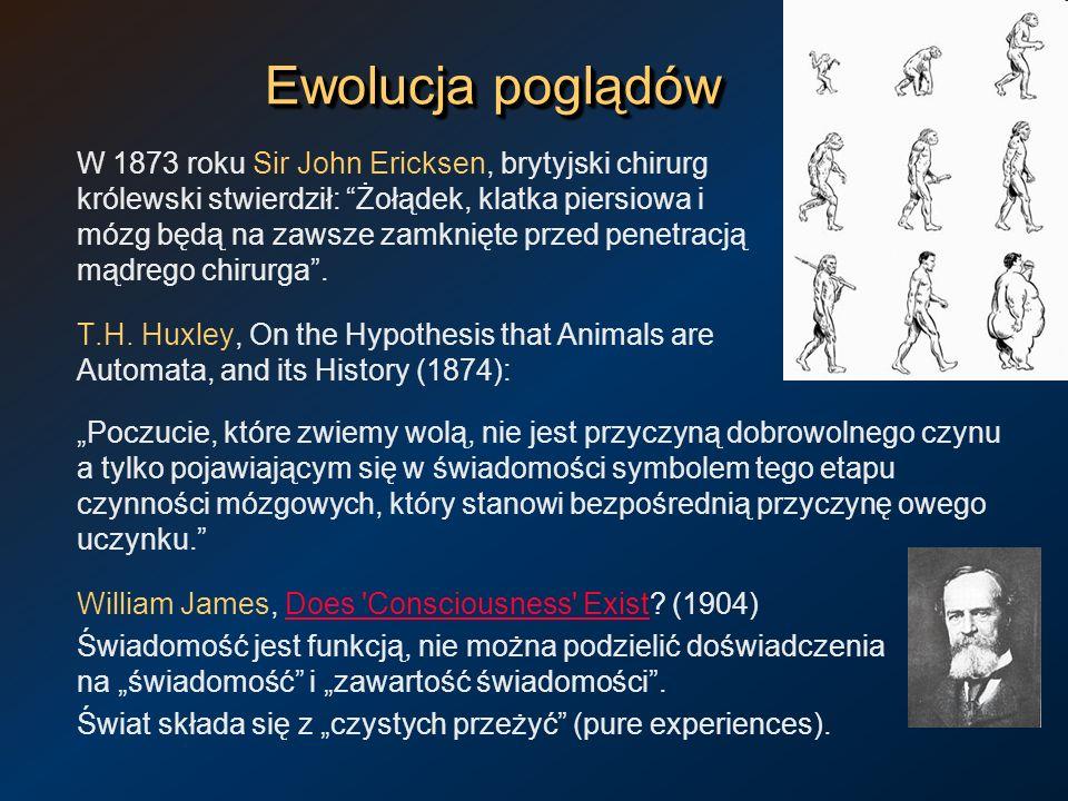 Ewolucja poglądów W 1873 roku Sir John Ericksen, brytyjski chirurg królewski stwierdził: Żołądek, klatka piersiowa i mózg będą na zawsze zamknięte prz