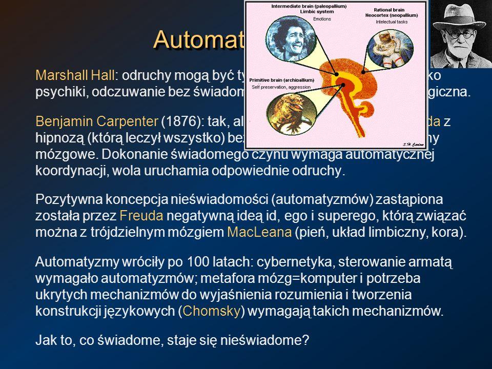 AutomatyzmyAutomatyzmy Marshall Hall: odruchy mogą być tylko w rdzeniu, mózg to siedlisko psychiki, odczuwanie bez świadomości to sprzeczność terminol