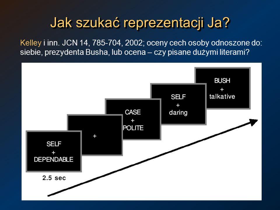Jak szukać reprezentacji Ja? Kelley i inn. JCN 14, 785-704, 2002; oceny cech osoby odnoszone do: siebie, prezydenta Busha, lub ocena – czy pisane duży