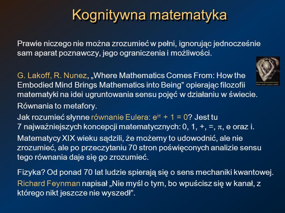 Kognitywna matematyka Prawie niczego nie można zrozumieć w pełni, ignorując jednocześnie sam aparat poznawczy, jego ograniczenia i możliwości. G. Lako