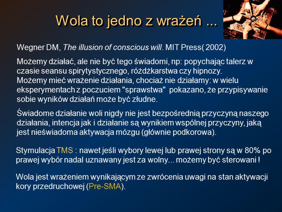 Wola to jedno z wrażeń... Wegner DM, The illusion of conscious will. MIT Press( 2002) Możemy działać, ale nie być tego świadomi, np: popychając talerz