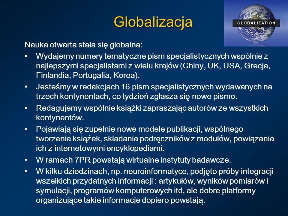 Globalizacja Nauka otwarta stała się globalna: Wydajemy numery tematyczne pism specjalistycznych wspólnie z najlepszymi specjalistami z wielu krajów (Chiny, UK, USA, Grecja, Finlandia, Portugalia, Korea).