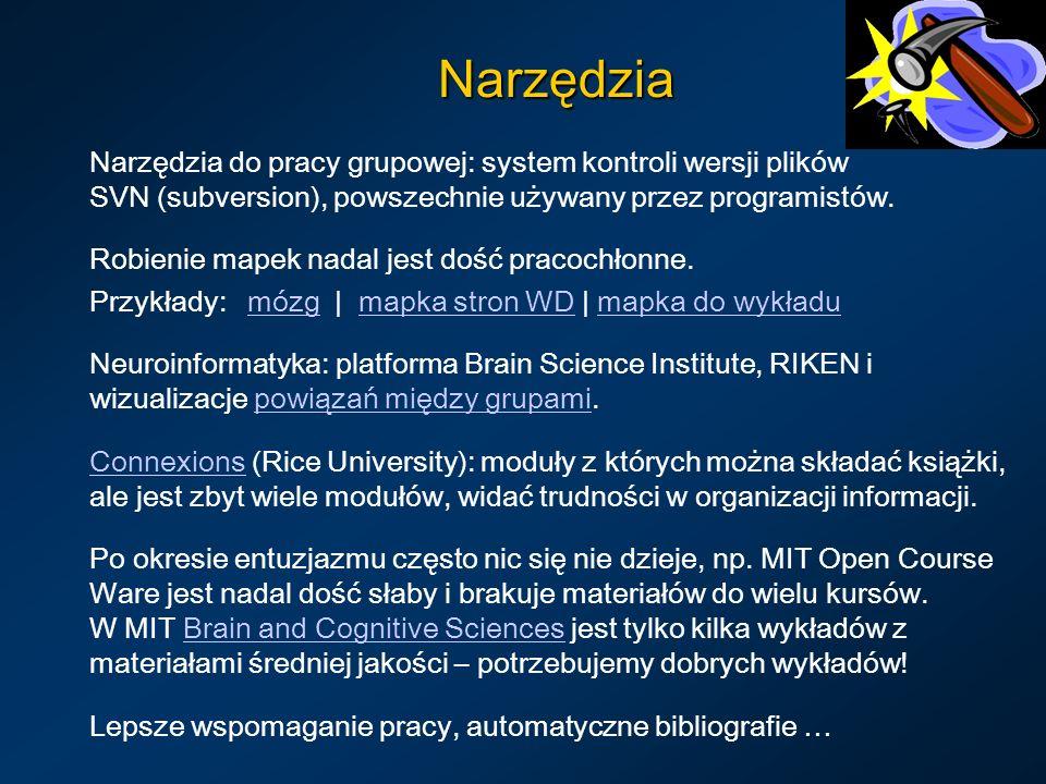 Narzędzia Narzędzia do pracy grupowej: system kontroli wersji plików SVN (subversion), powszechnie używany przez programistów.