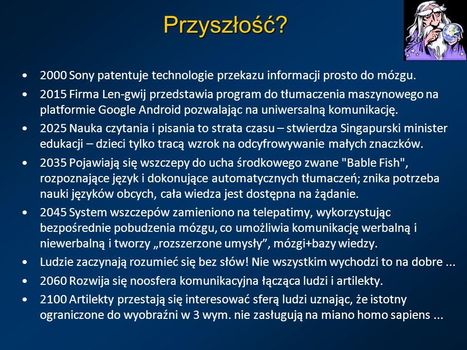 Przyszłość. 2000 Sony patentuje technologie przekazu informacji prosto do mózgu.