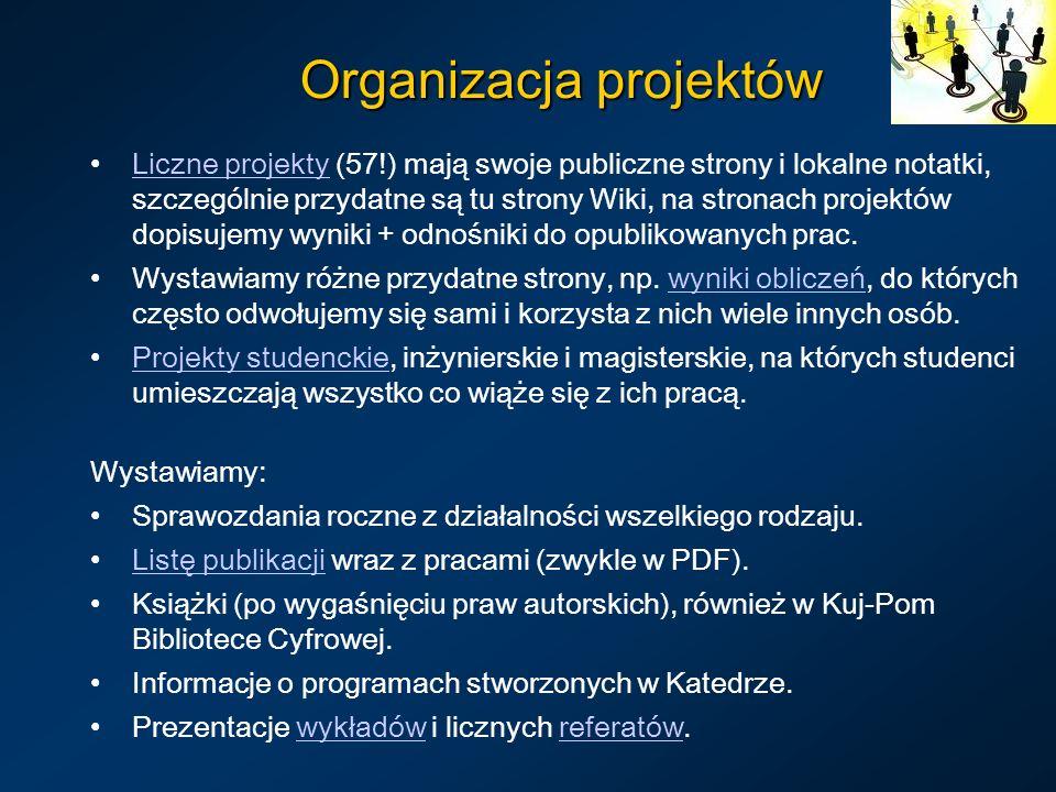 Organizacja projektów Liczne projekty (57!) mają swoje publiczne strony i lokalne notatki, szczególnie przydatne są tu strony Wiki, na stronach projektów dopisujemy wyniki + odnośniki do opublikowanych prac.Liczne projekty Wystawiamy różne przydatne strony, np.