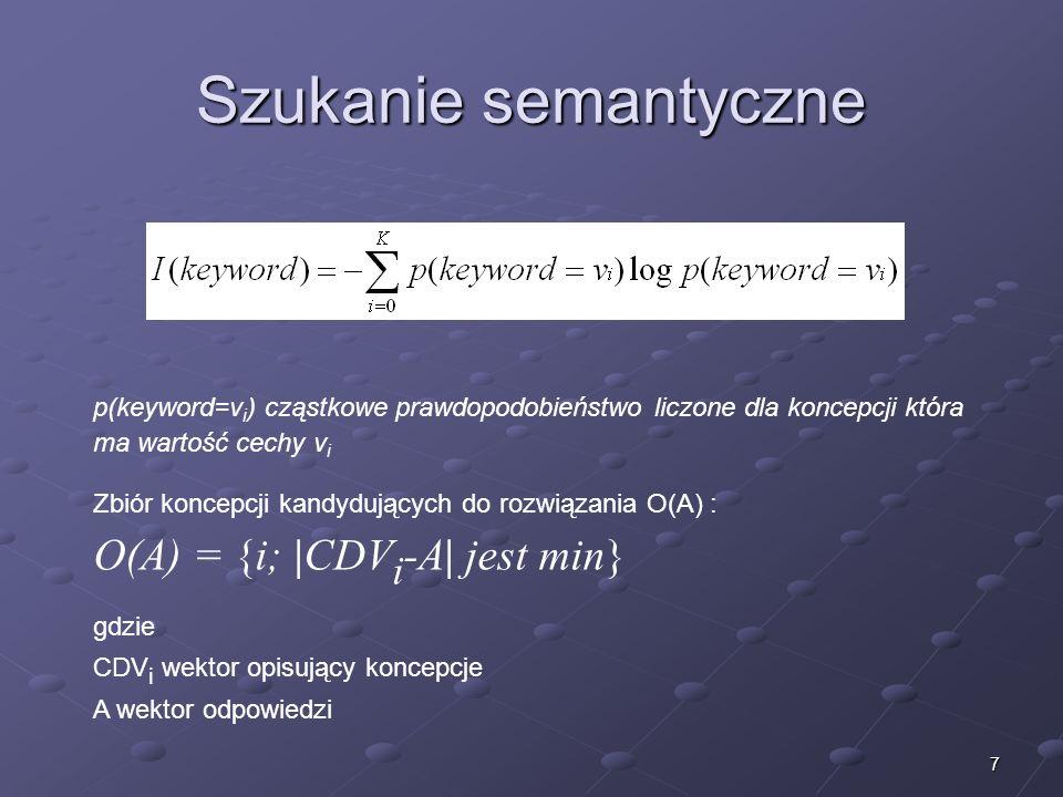 7 Szukanie semantyczne p(keyword=v i ) cząstkowe prawdopodobieństwo liczone dla koncepcji która ma wartość cechy v i Zbiór koncepcji kandydujących do