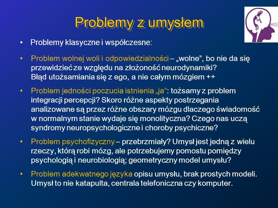 Problemy z umysłem Problemy klasyczne i współczesne: Problem wolnej woli i odpowiedzialności – wolne, bo nie da się przewidzieć ze względu na złożonoś