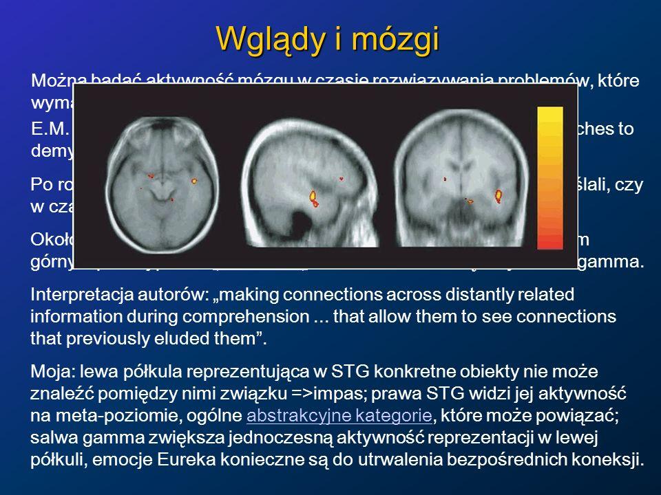Wglądy i mózgi Można badać aktywność mózgu w czasie rozwiązywania problemów, które wymagają wglądu lub które rozwiązywane są schematycznie. E.M. Bowde