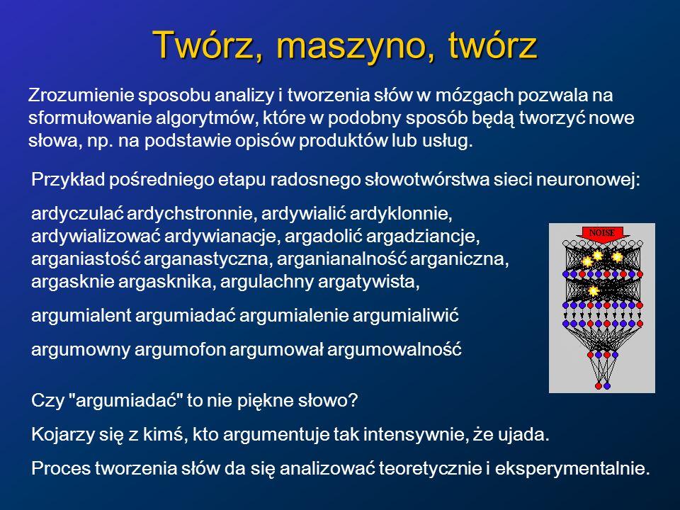 Twórz, maszyno, twórz Zrozumienie sposobu analizy i tworzenia słów w mózgach pozwala na sformułowanie algorytmów, które w podobny sposób będą tworzyć