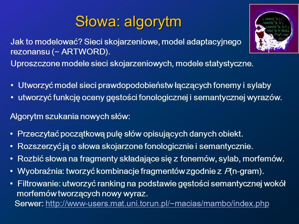 Słowa: algorytm Jak to modelować? Sieci skojarzeniowe, model adaptacyjnego rezonansu (~ ARTWORD). Uproszczone modele sieci skojarzeniowych, modele sta