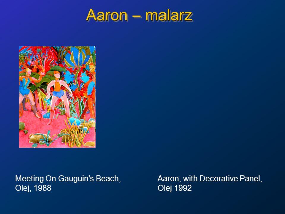 Aaron – malarz Meeting On Gauguin's Beach, Aaron, with Decorative Panel, Olej, 1988Olej 1992