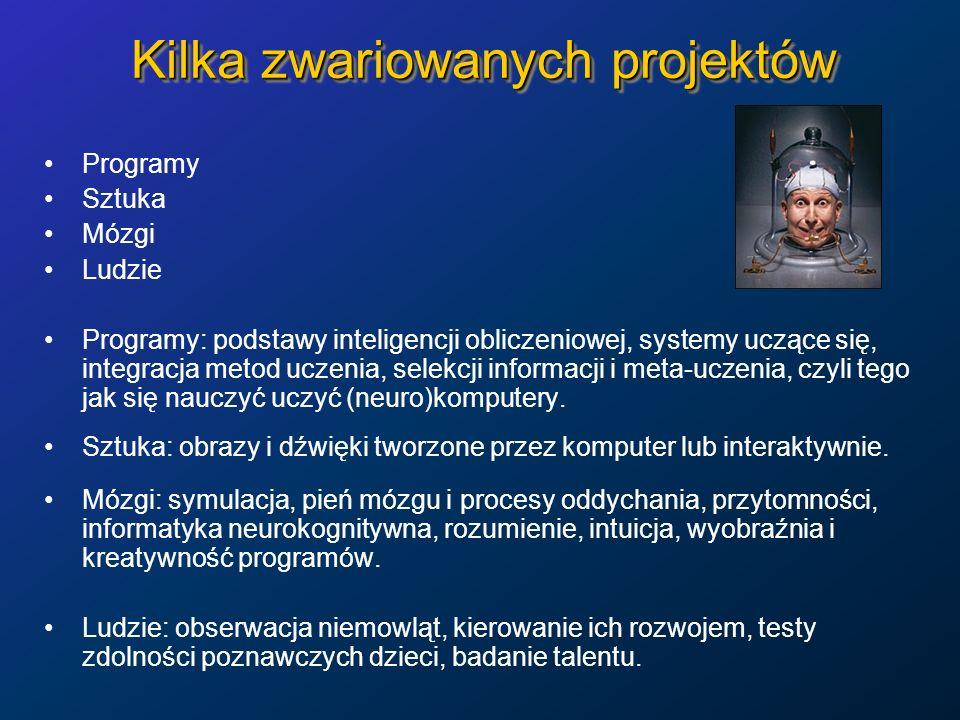 Kilka zwariowanych projektów Programy Sztuka Mózgi Ludzie Programy: podstawy inteligencji obliczeniowej, systemy uczące się, integracja metod uczenia,