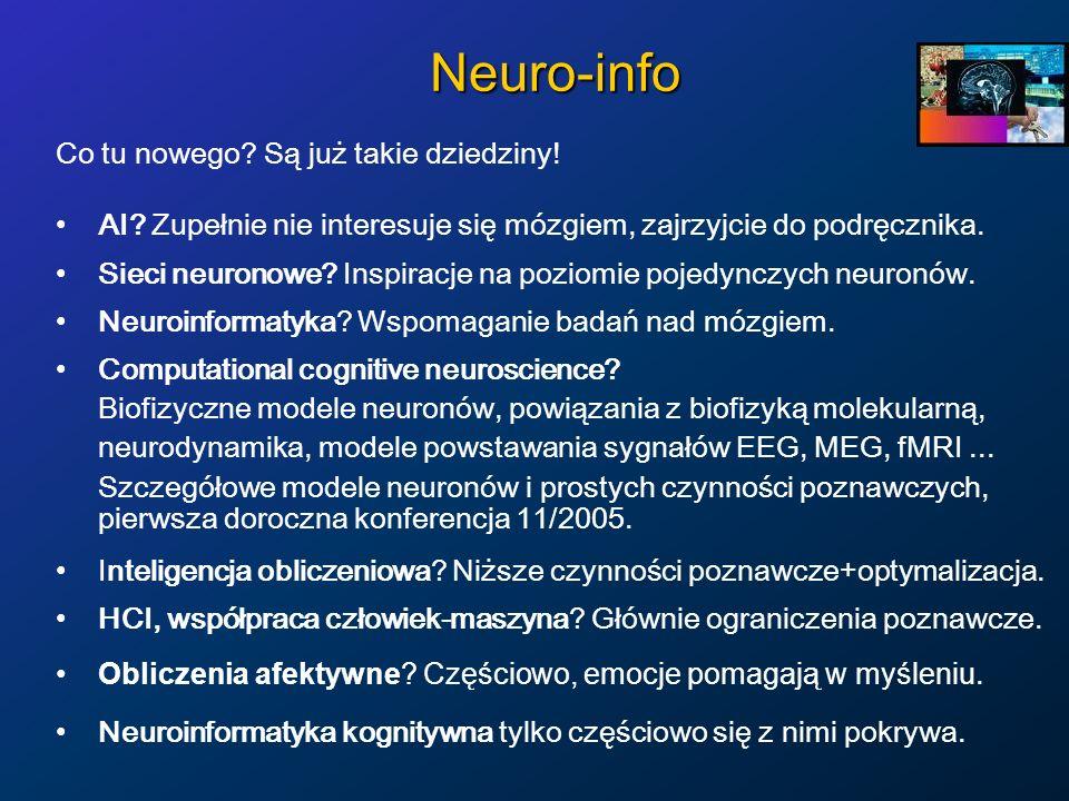 Neuro-info Co tu nowego? Są już takie dziedziny! AI? Zupełnie nie interesuje się mózgiem, zajrzyjcie do podręcznika. Sieci neuronowe? Inspiracje na po