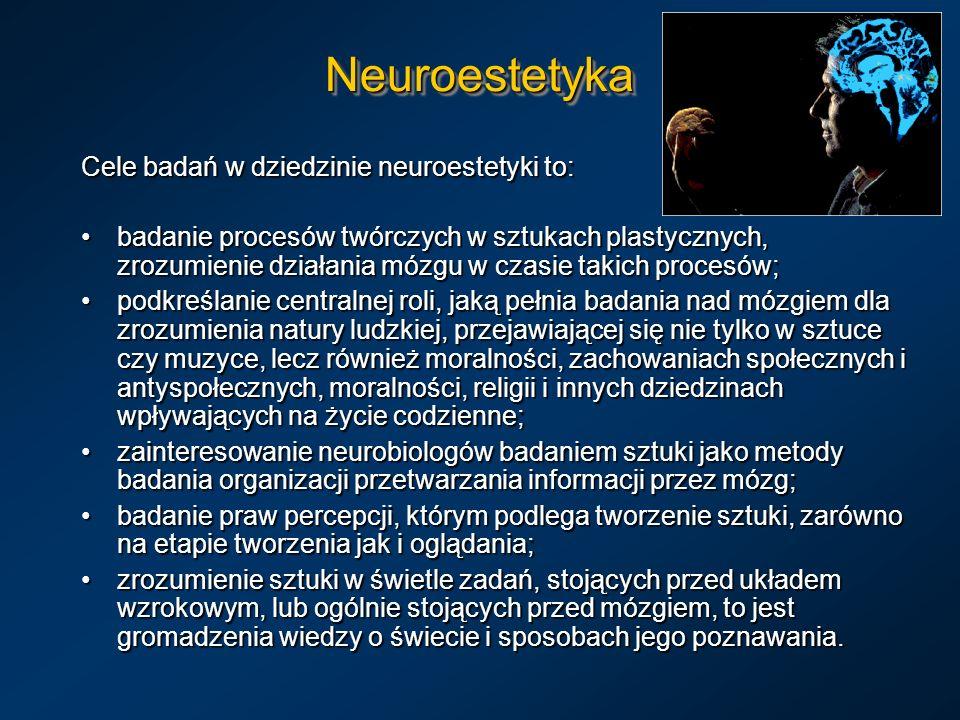 NeuroestetykaNeuroestetyka Cele badań w dziedzinie neuroestetyki to: badanie procesów twórczych w sztukach plastycznych, zrozumienie działania mózgu w