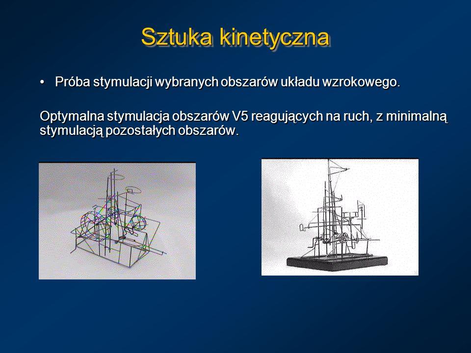 Sztuka kinetyczna Próba stymulacji wybranych obszarów układu wzrokowego. Próba stymulacji wybranych obszarów układu wzrokowego. Optymalna stymulacja o