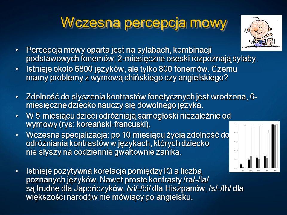 Wczesna percepcja mowy Percepcja mowy oparta jest na sylabach, kombinacji podstawowych fonemów; 2-miesięczne oseski rozpoznają sylaby.Percepcja mowy oparta jest na sylabach, kombinacji podstawowych fonemów; 2-miesięczne oseski rozpoznają sylaby.
