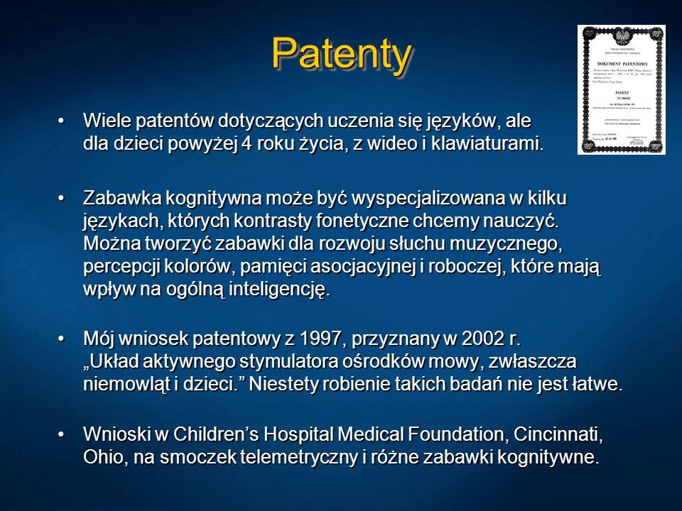 PatentyPatenty Wiele patentów dotyczących uczenia się języków, ale dla dzieci powyżej 4 roku życia, z wideo i klawiaturami.Wiele patentów dotyczących uczenia się języków, ale dla dzieci powyżej 4 roku życia, z wideo i klawiaturami.