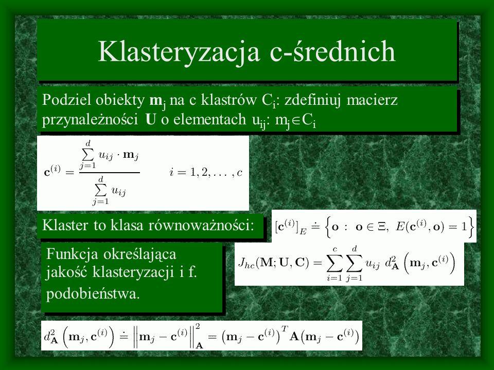 Algorytm twardej klasteryzacji Wybierz przypadkowe u ij (partycję) l = 1, 2..., oblicz nowe średnie dla klasterów Wybierz przypadkowe u ij (partycję) l = 1, 2..., oblicz nowe średnie dla klasterów Zmień macierz partycji: Iteruj aż: