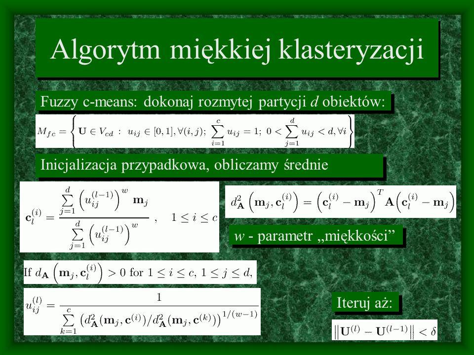 Algorytm miękkiej klasteryzacji Fuzzy c-means: dokonaj rozmytej partycji d obiektów: Inicjalizacja przypadkowa, obliczamy średnie Iteruj aż: w - param