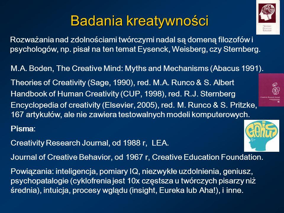 Badania kreatywności Rozważania nad zdolnościami twórczymi nadal są domeną filozofów i psychologów, np.