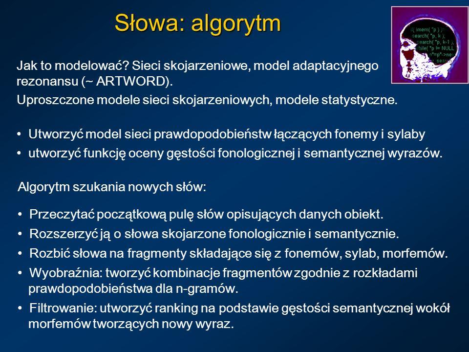 Słowa: algorytm Jak to modelować.Sieci skojarzeniowe, model adaptacyjnego rezonansu (~ ARTWORD).