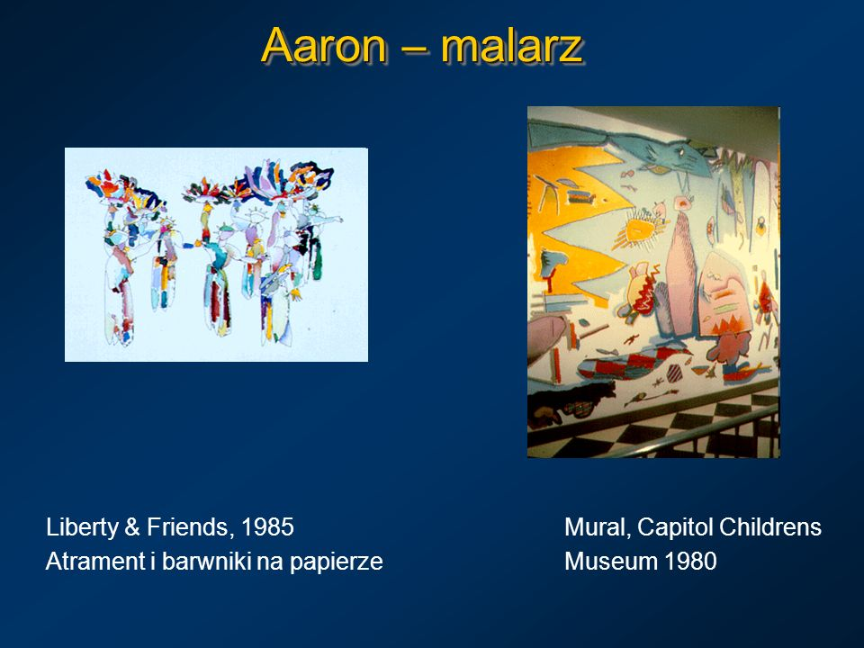 Aaron – malarz Meeting On Gauguin s Beach, Aaron, with Decorative Panel, Olej, 1988Olej 1992