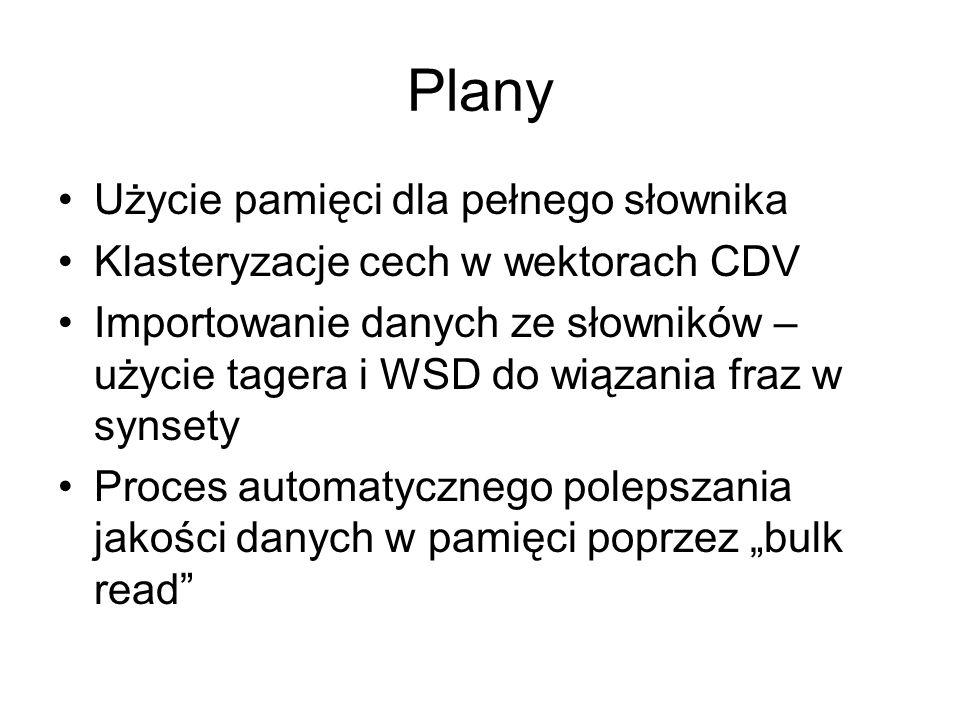 Plany Użycie pamięci dla pełnego słownika Klasteryzacje cech w wektorach CDV Importowanie danych ze słowników – użycie tagera i WSD do wiązania fraz w