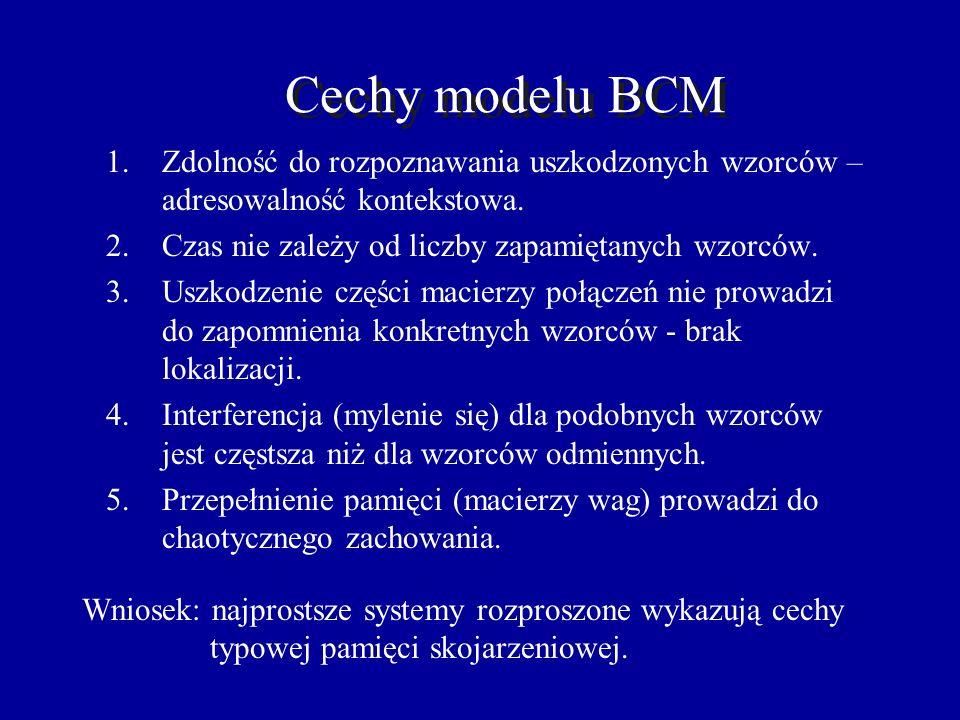 BCM: pamięć autoasocjacyjna 110000 010001 1 1 0 0 0 0 1 1 0 0 0 1 0 0 0 0 0 0 0 0 0 0 0 0 0 0 0 0 0 0 0 1 0 0 0 1 Pamięć rozpoznawcza. Niższy próg - r