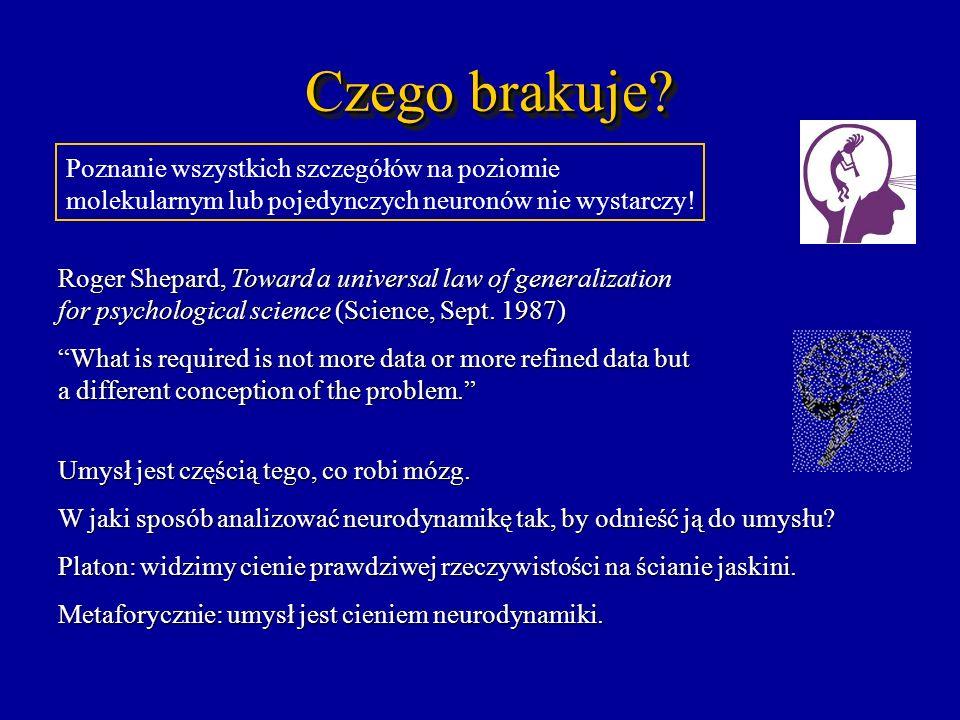 Czego brakuje? Poznanie wszystkich szczegółów na poziomie molekularnym lub pojedynczych neuronów nie wystarczy! Roger Shepard, Toward a universal law