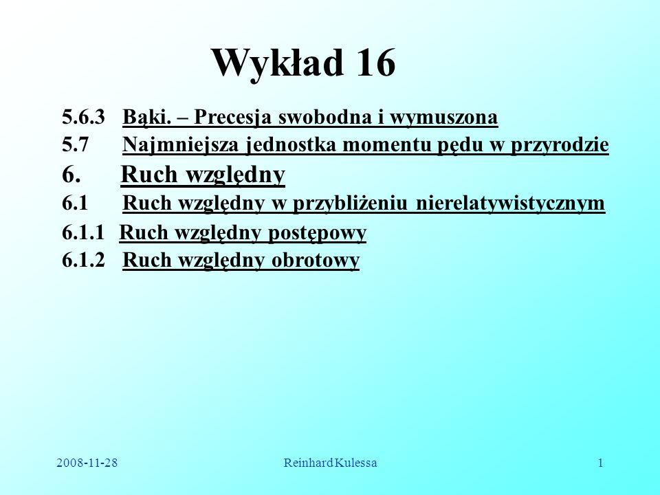 2008-11-28Reinhard Kulessa1 Wykład 16 5.6.3 Bąki. – Precesja swobodna i wymuszona 5.7 Najmniejsza jednostka momentu pędu w przyrodzie 6. Ruch względny