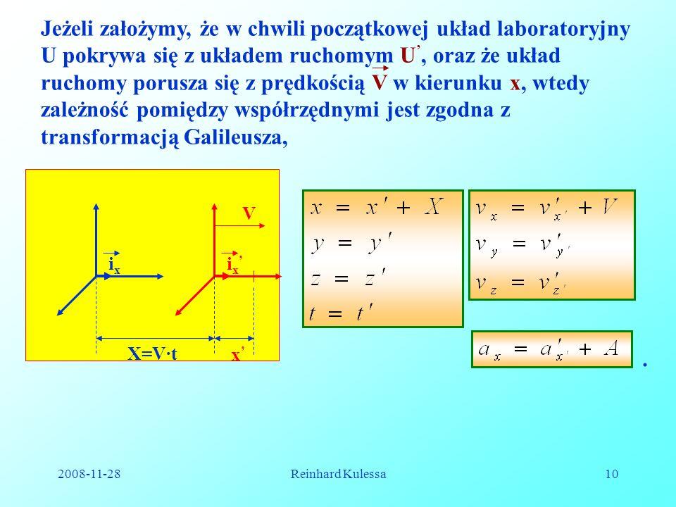 2008-11-28Reinhard Kulessa10 i x Jeżeli założymy, że w chwili początkowej układ laboratoryjny U pokrywa się z układem ruchomym U, oraz że układ ruchom