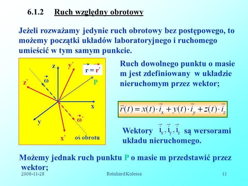 2008-11-28Reinhard Kulessa11 6.1.2 Ruch względny obrotowy Jeżeli rozważamy jedynie ruch obrotowy bez postępowego, to możemy początki układów laborator
