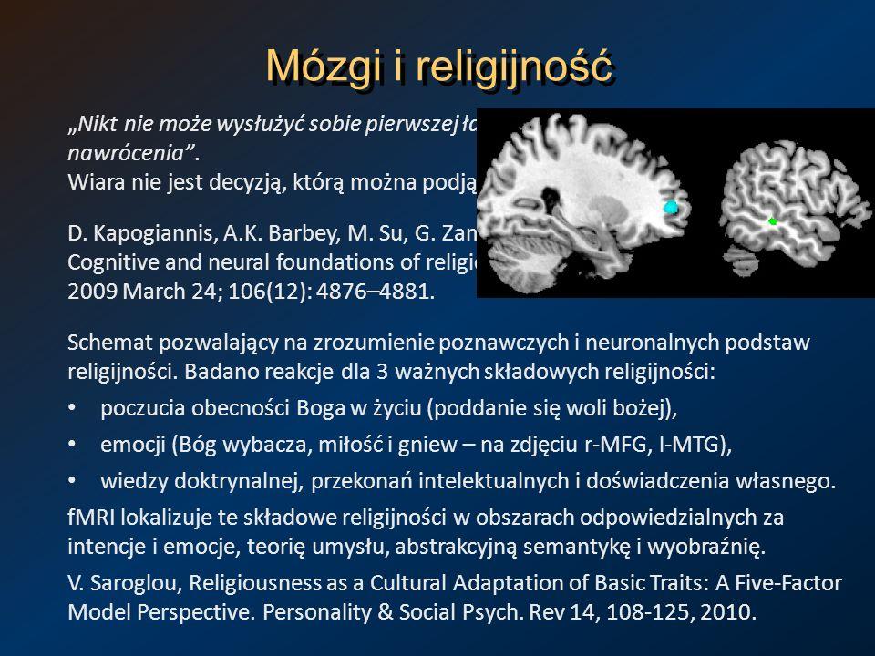 Mózgi i religijność Nikt nie może wysłużyć sobie pierwszej łaski, która znajduje się u początku nawrócenia. Wiara nie jest decyzją, którą można podjąć