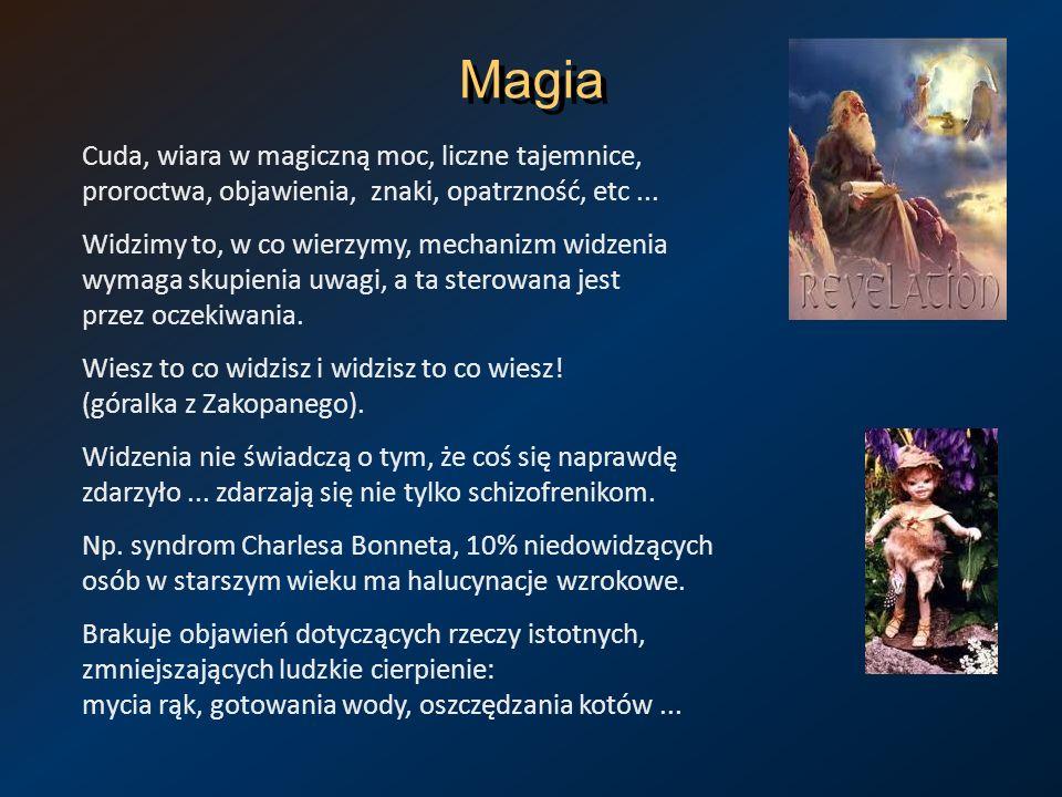 Magia Cuda, wiara w magiczną moc, liczne tajemnice, proroctwa, objawienia, znaki, opatrzność, etc... Widzimy to, w co wierzymy, mechanizm widzenia wym