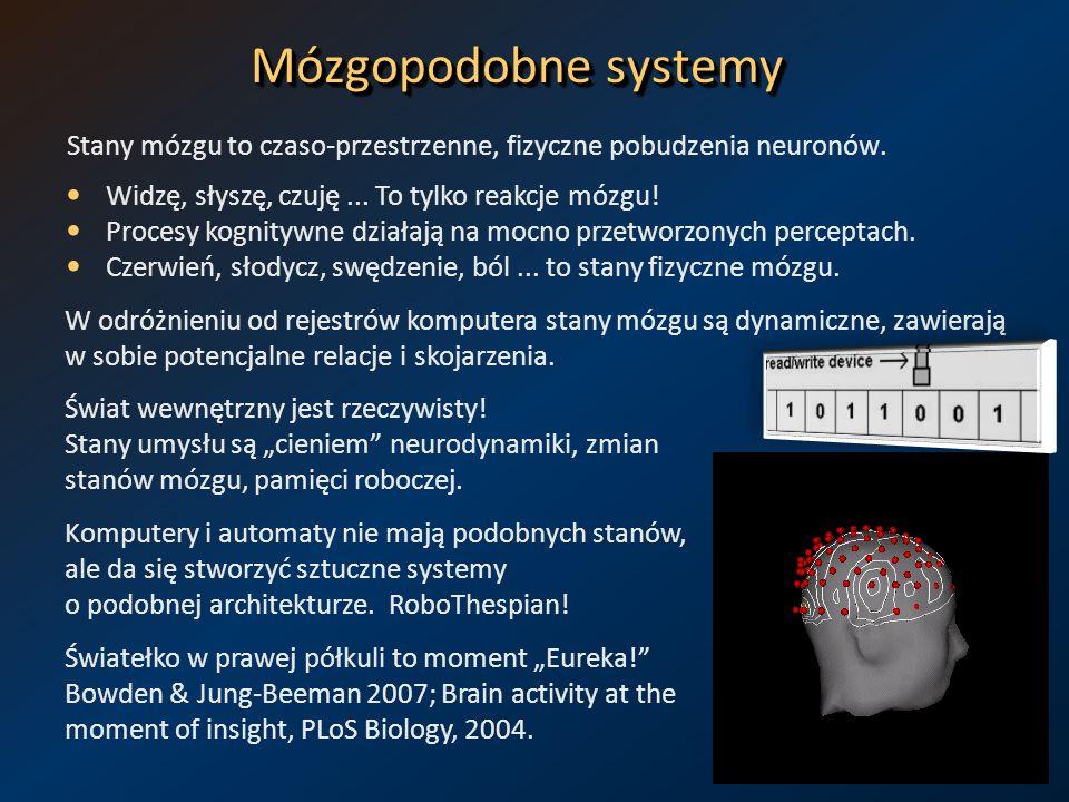 Mózgopodobne systemy Stany mózgu to czaso-przestrzenne, fizyczne pobudzenia neuronów. Widzę, słyszę, czuję... To tylko reakcje mózgu! Procesy kognityw