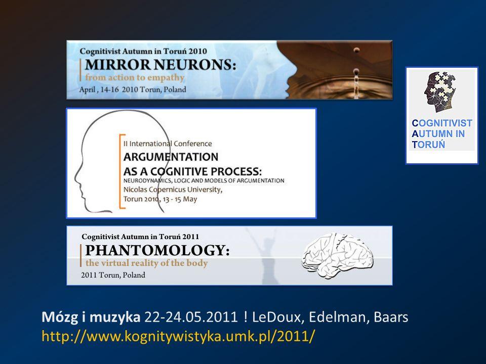 Mózg i muzyka 22-24.05.2011 ! LeDoux, Edelman, Baars http://www.kognitywistyka.umk.pl/2011/