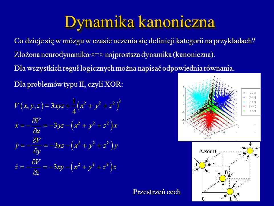 Dynamika kanoniczna Co dzieje się w mózgu w czasie uczenia się definicji kategorii na przykładach? Złożona neurodynamika najprostsza dynamika (kanonic