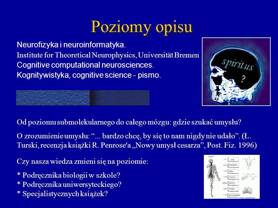 Poziomy opisu Neurofizyka i neuroinformatyka. Institute for Theoretical Neurophysics, Universität Bremen Cognitive computational neurosciences. Kognit