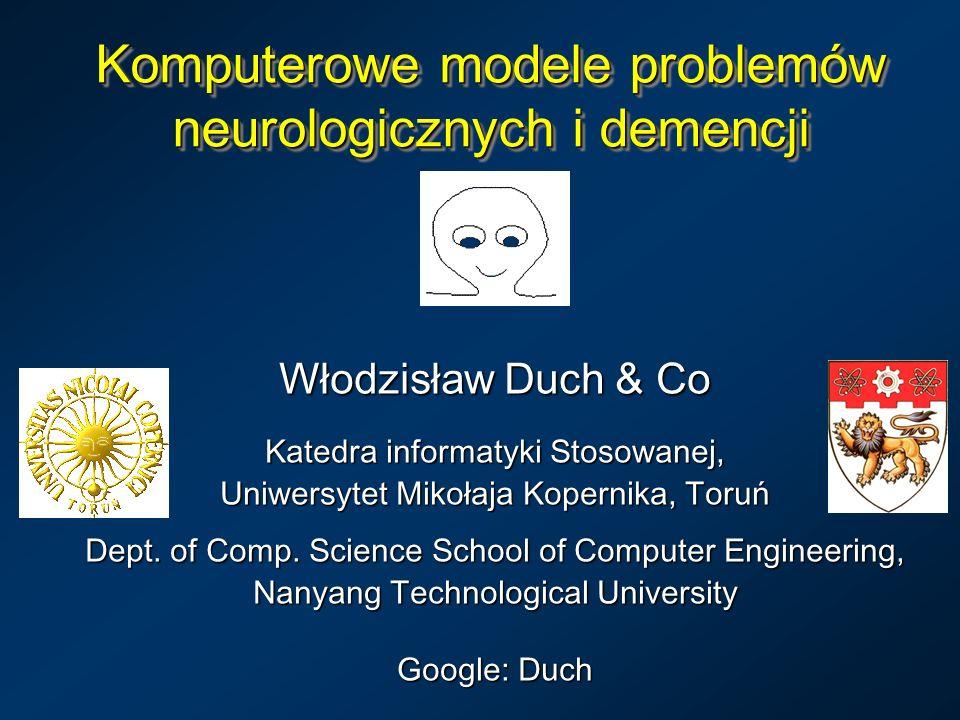 Komputerowe modele problemów neurologicznych i demencji Włodzisław Duch & Co Katedra informatyki Stosowanej, Uniwersytet Mikołaja Kopernika, Toruń Dep