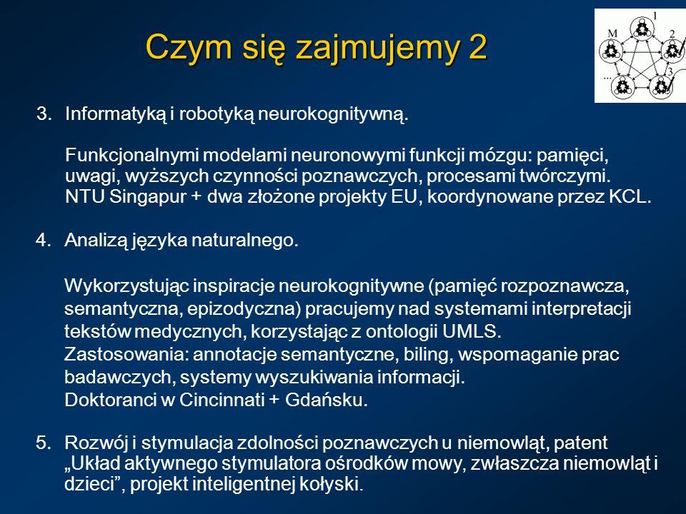 Czym się zajmujemy 2 4.Analizą języka naturalnego. Wykorzystując inspiracje neurokognitywne (pamięć rozpoznawcza, semantyczna, epizodyczna) pracujemy