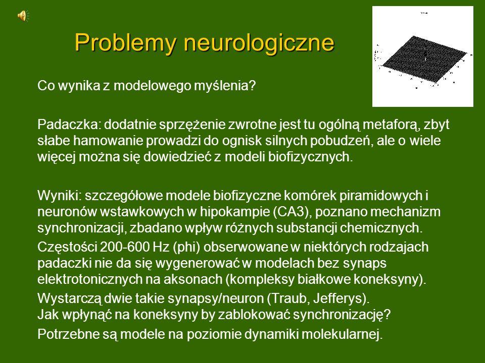 Problemy neurologiczne Co wynika z modelowego myślenia? Padaczka: dodatnie sprzężenie zwrotne jest tu ogólną metaforą, zbyt słabe hamowanie prowadzi d