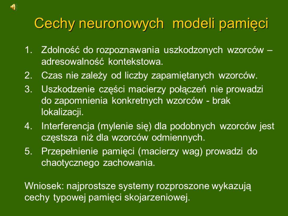 Cechy neuronowych modeli pamięci 1.Zdolność do rozpoznawania uszkodzonych wzorców – adresowalność kontekstowa. 2.Czas nie zależy od liczby zapamiętany