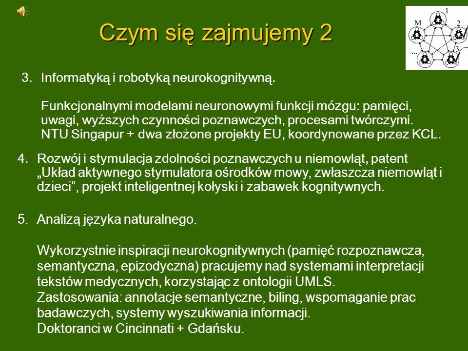 Czym się zajmujemy 2 5.Analizą języka naturalnego. Wykorzystnie inspiracji neurokognitywnych (pamięć rozpoznawcza, semantyczna, epizodyczna) pracujemy