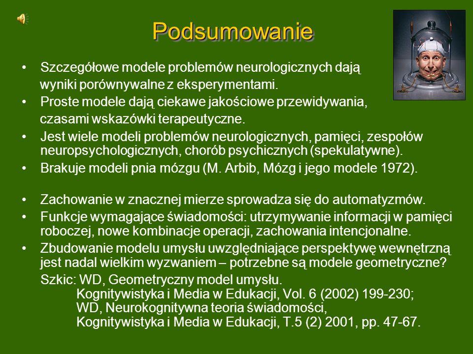 PodsumowaniePodsumowanie Szczegółowe modele problemów neurologicznych dają wyniki porównywalne z eksperymentami. Proste modele dają ciekawe jakościowe