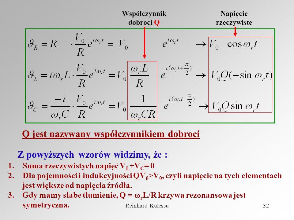 Reinhard Kulessa32 Współczynnik dobroci Q Napięcie rzeczywiste Z powyższych wzorów widzimy, że : 1.Suma rzeczywistych napięć V L +V C = 0 2.Dla pojemn
