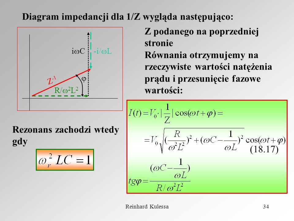Reinhard Kulessa34 Diagram impedancji dla 1/Z wygląda następująco: R/ 2 L 2 -i/ Li C Z -1 Z podanego na poprzedniej stronie Równania otrzymujemy na rz