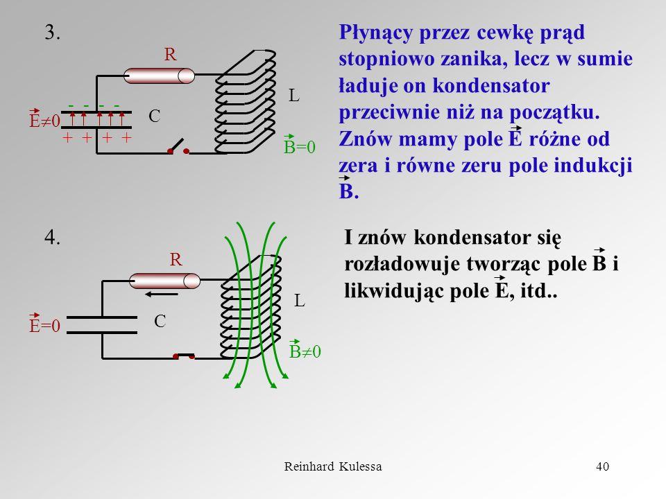 Reinhard Kulessa40 - - + + R L C E 0 B=0 R L C E=0 B 0 3. 4. Płynący przez cewkę prąd stopniowo zanika, lecz w sumie ładuje on kondensator przeciwnie