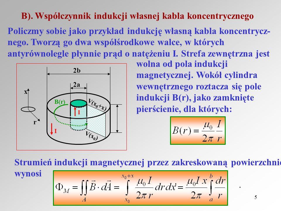 Reinhard Kulessa5 B). Współczynnik indukcji własnej kabla koncentrycznego x r 2b 2a V(x 0 ) V(x 0 +x) B(r) I I Policzmy sobie jako przykład indukcję w